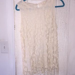 Cream Layered Lace Sleeveless Top